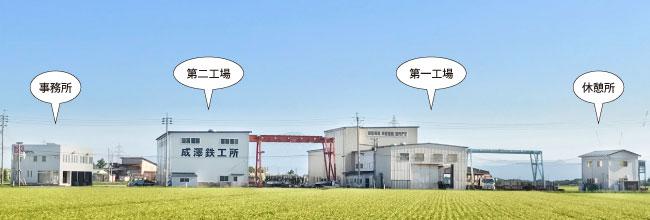 成澤鉄工所は、「事務所」「第一工場」「第一工場」「第二工場」「休憩所」の4つの建物からなっています。